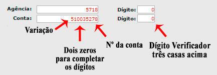 Dados conta Banco Brasil